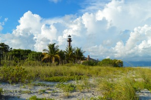 A storm rolls in over the lighthouse on Sanibel.