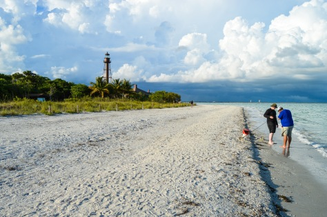 Fishermen enjoy a day at the beach on Sanibel.