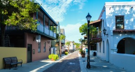 Cobblestone and brick paths create an inviting atmosphere for St. Augustine visitors.